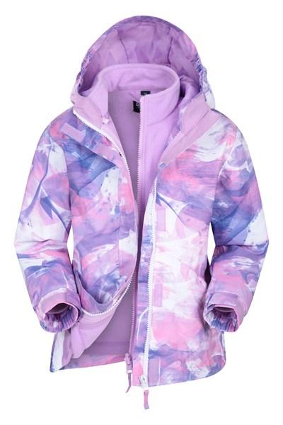 Aries Printed Waterproof Kids 3-in-1 Jacket - Purple