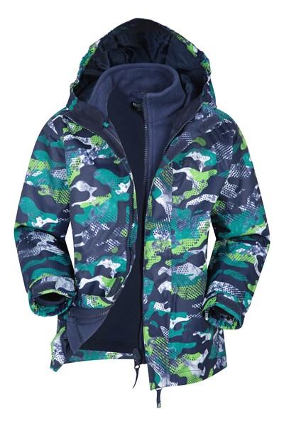 Atom Printed Waterproof 3-in-1 Kids Jacket - Dark Grey