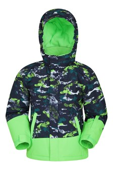Mogal Printed Kids Ski Jacket Green
