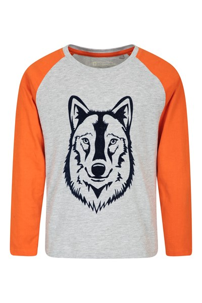 Wolf Long-Sleeve Kids Top - Grey