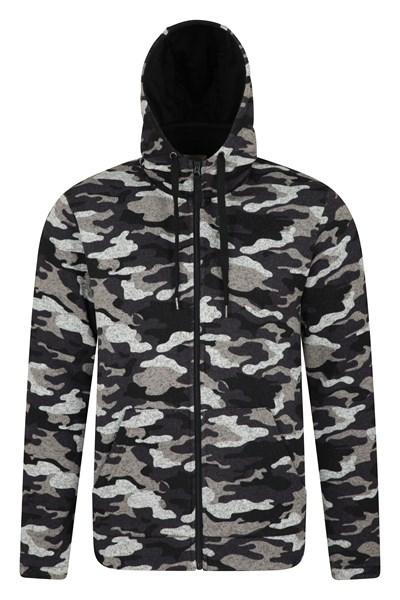 Idris Printed Mens Fleece Hoodie - Black