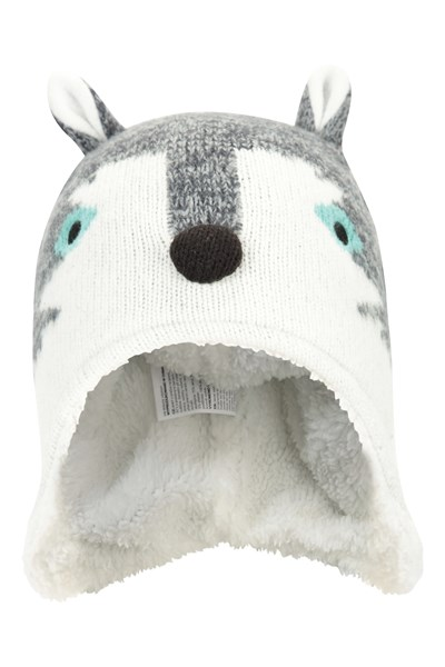 Wolf Character Kids Hat - White