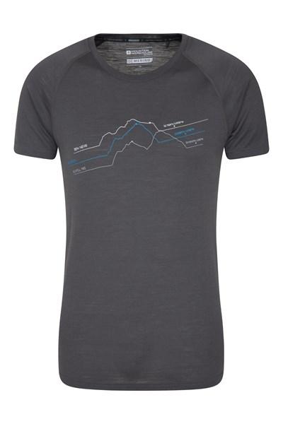 Quest Mens Printed Merino Thermal T-Shirt - Grey