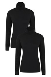 Meribel Womens Cotton Roll Neck Top - 2-Pack