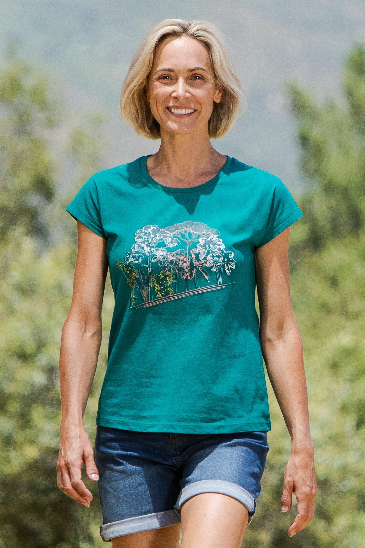 Trees Printed - t-shirt damski - Green