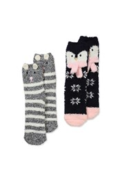 Neon Sheep Winter Animal Fluffy Socks - 2Pk