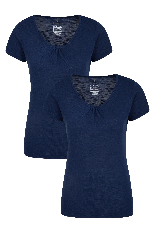 Agra Slub - t-shirt damski Multipack - Navy