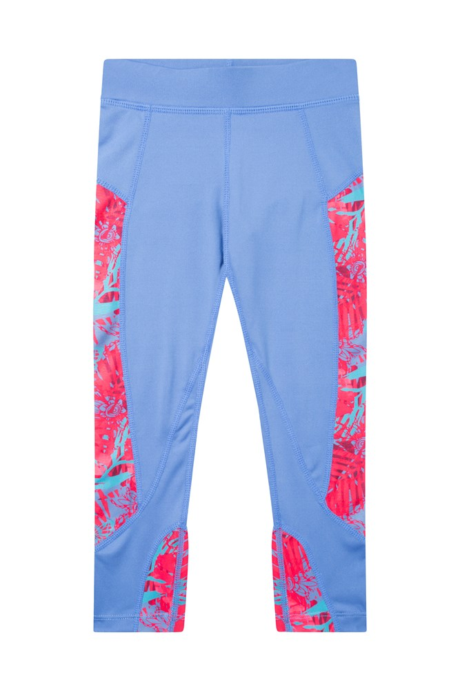 Kids Panel Print 7/8 Leggings - Bright Pink