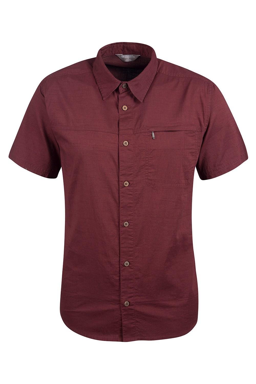 Coconut Short Sleeve Mens Travel Shirt - Burgundy