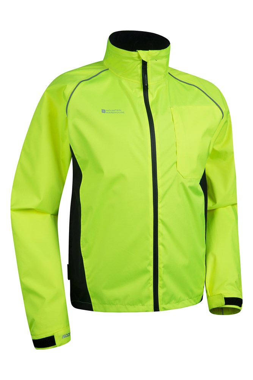 Running /& Walking Breathable Mens Coat Adjustable Hem High Viz Mountain Warehouse Adrenaline Mens High Visibility Jacket Waterproof Rain Coat for Spring Cycling
