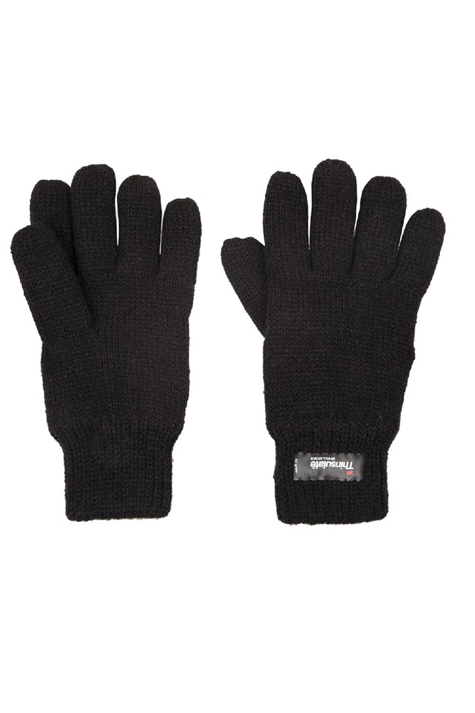 Kids Knitted Thinsulate Thermal Gloves – Black