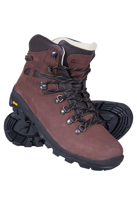Excalibur Mens Leather Waterproof Boots - Brown