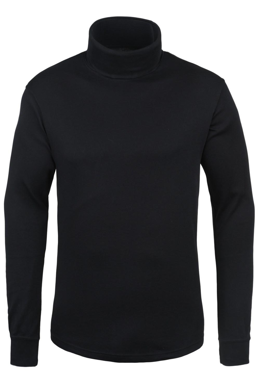 Meribel Mens Cotton Roll Neck Top - Black
