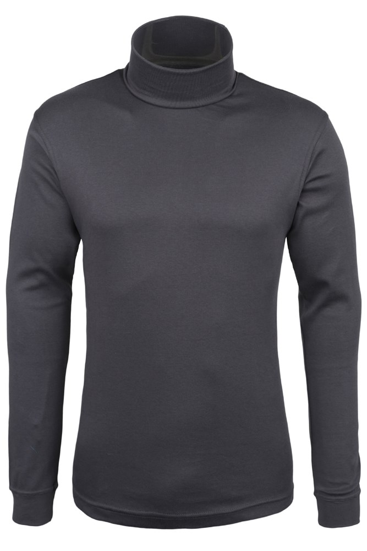 Meribel Mens Cotton Roll Neck Top - Grey