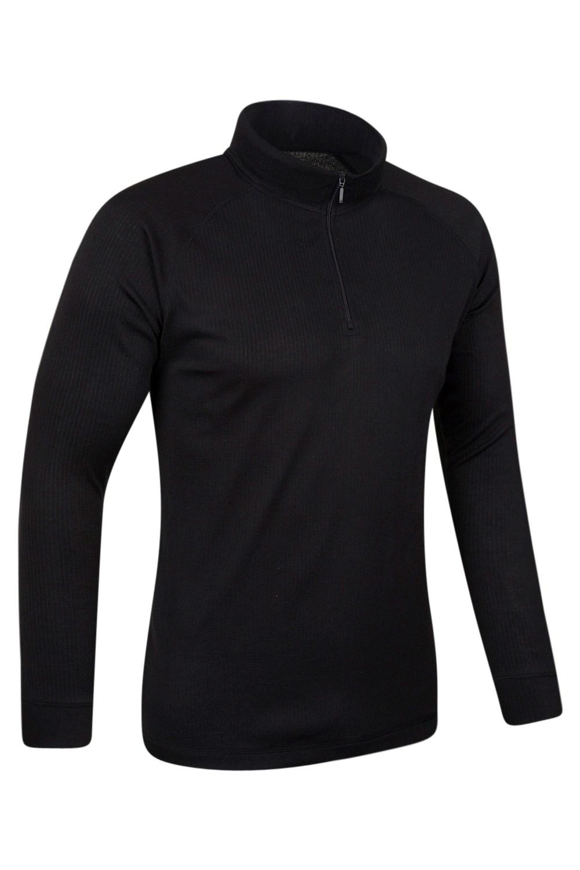 Talus Mens Long Sleeved Zip Neck Top - Black