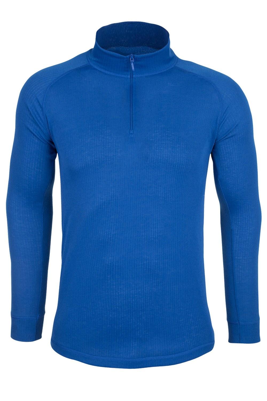 Talus Mens Long Sleeved Zip Neck Top - Blue