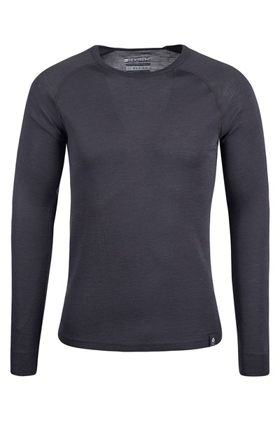Merino Mens Long Sleeved Round Neck Top - Grey
