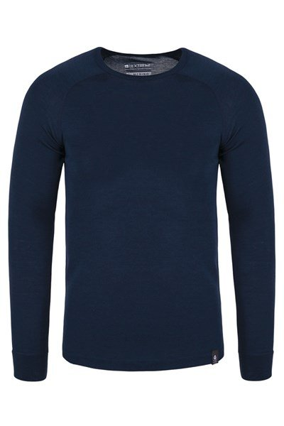 Merino Mens Long Sleeved Round Neck Top - Navy