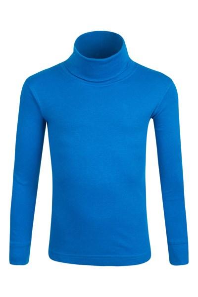 Meribel Kids Cotton Roll Neck Top - Blue