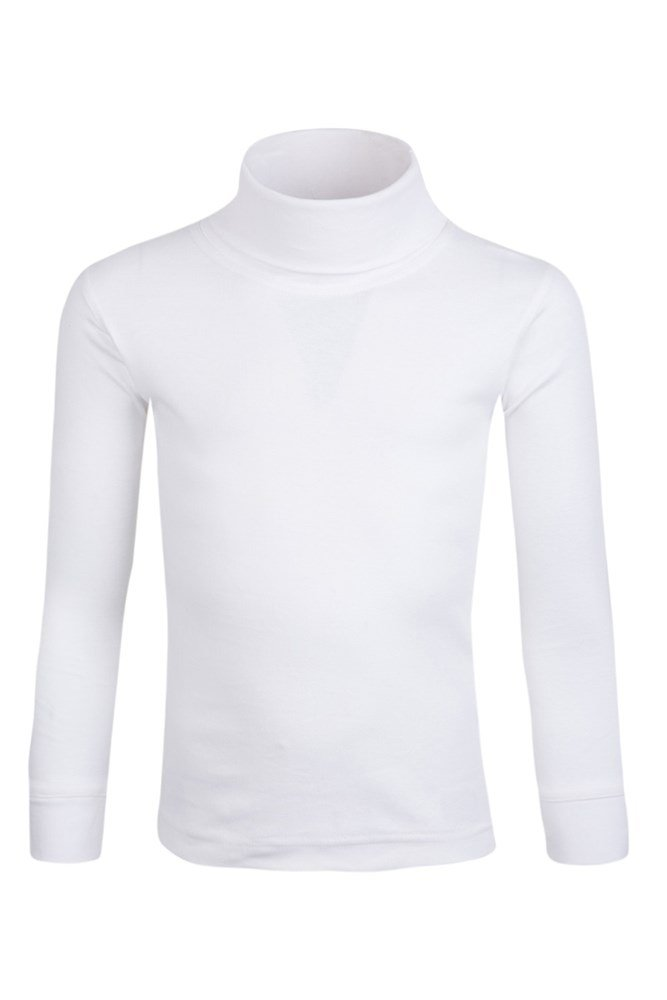Meribel Kids Cotton Roll Neck Top - White