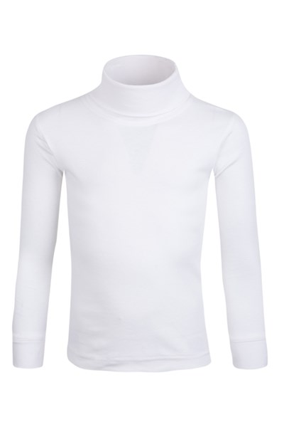 Meribel Kids Cotton Roll Neck Top - White