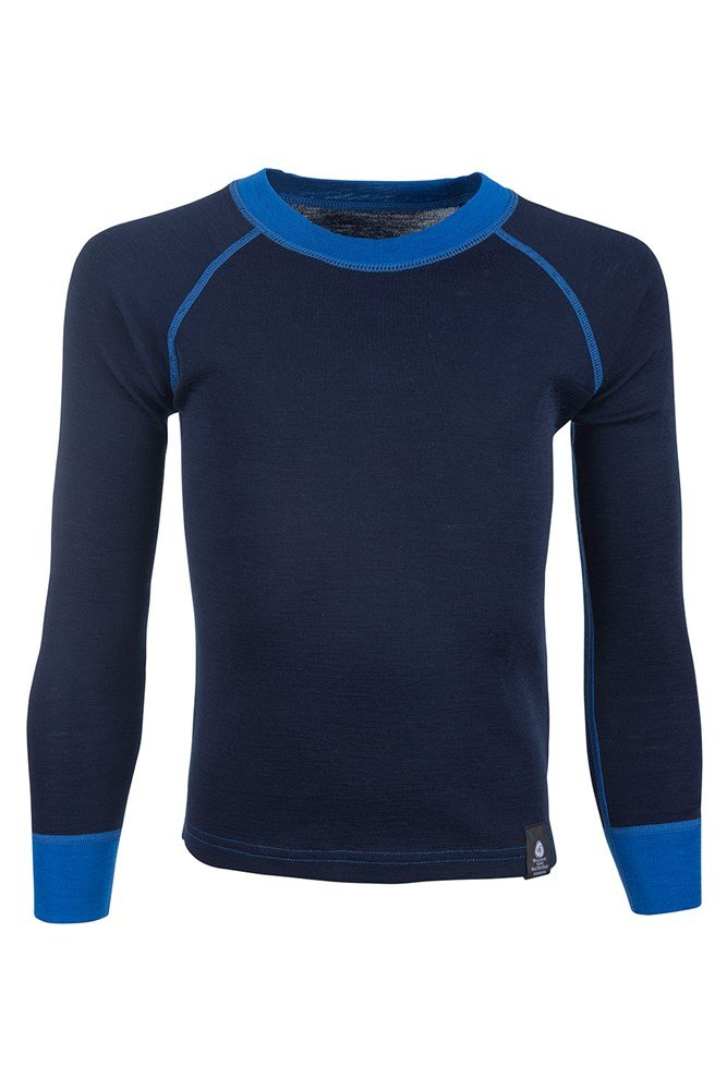 Merino Kids Round Neck Base Layer Top - Blue