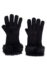 Faux Fur Womens Touch Screen Gloves