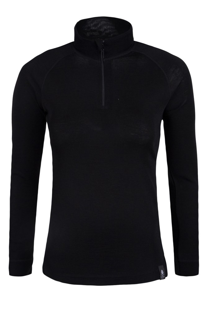 Merino Womens Long Sleeved Zip Neck Top - Black