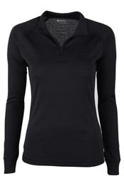 Talus Womens Long Sleeved Zip Neck Top