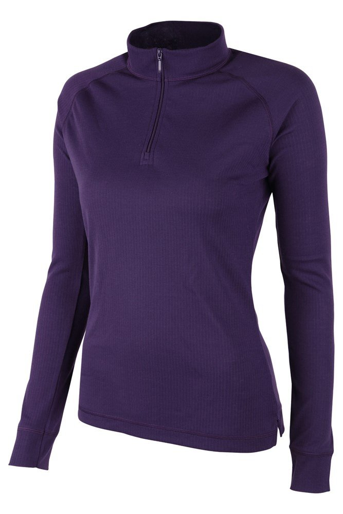 Talus Womens Long Sleeved Zip Neck Top - Purple