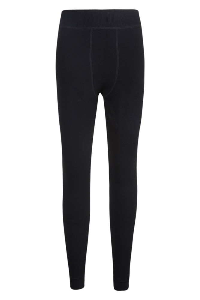 Womens Fluffy Fleece Lined Leggings - Black