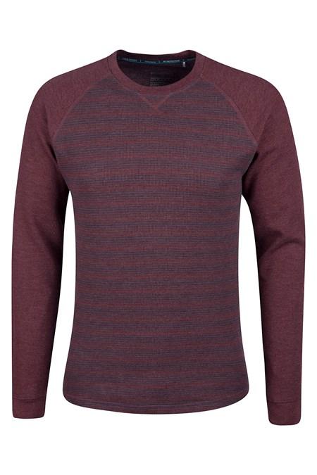 Waffle mens long sleeve stripe t shirt mountain warehouse eu for Mens striped long sleeve t shirt