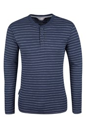 Henley Mens Slub Stripe Long Sleeve Top